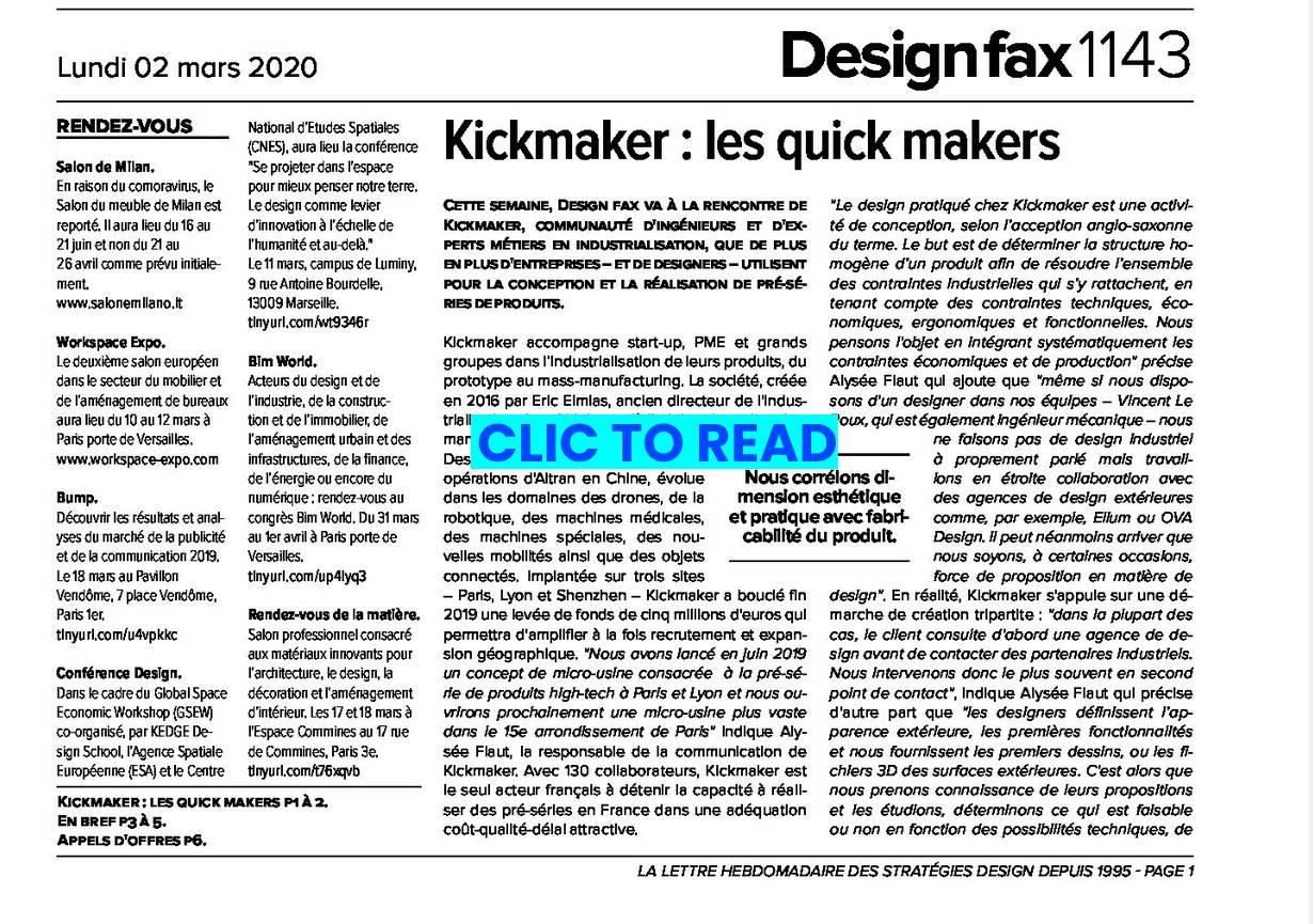 Design Fax : Kickmaker et le design