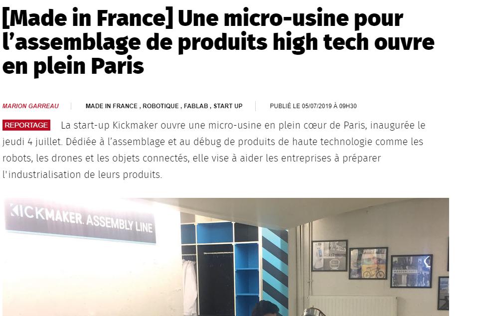 Usine nouvelle une micro-usine dédiée aux produits high-tech ouvre dans Paris